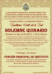 1er Día Quinario Stmo. Cristo de la Sed. @ Parroquia San Juan Grande y Ntra. Sra. de la Candelaria